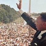 """מרתין לוטר קינג בנאומו המפורסם """"יש לי חלום"""", במהלך המצעד לזכויות אדם ב- 1963"""